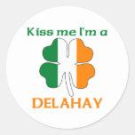 Personalised Irish Kiss Me I'm Delahay Round Stickers
