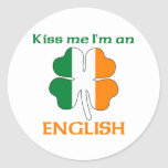 Personalised Irish Kiss Me I'm English Round Stickers