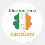 Personalised Irish Kiss Me I'm Grogan Round Stickers