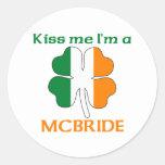 Personalised Irish Kiss Me I'm Mcbride Round Stickers