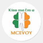 Personalised Irish Kiss Me I'm Mcevoy Round Stickers