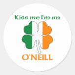 Personalised Irish Kiss Me I'm O'Neill Round Sticker