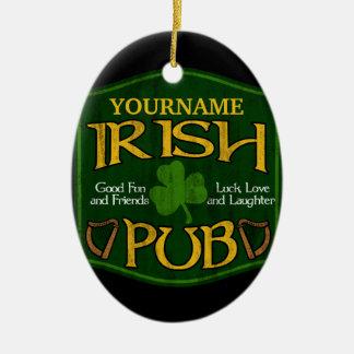 Personalised Irish Pub Sign Christmas Tree Ornaments