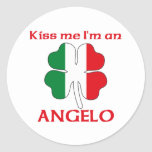 Personalised Italian Kiss Me I'm Angelo Round Stickers