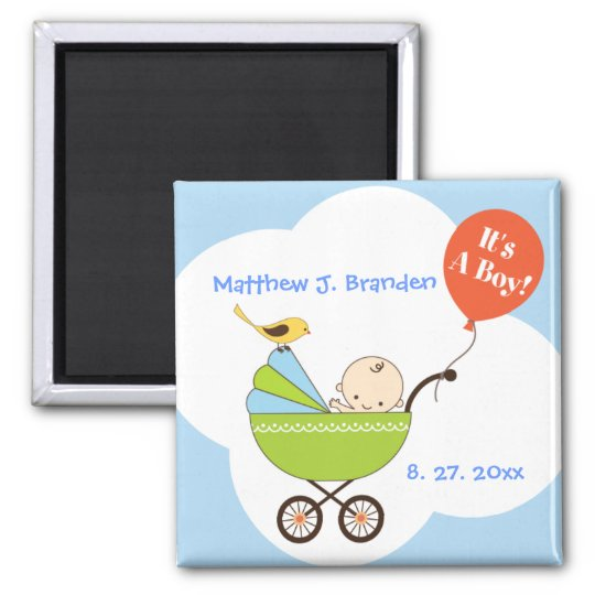 Personalised It's a Boy in Skyblue Magnet