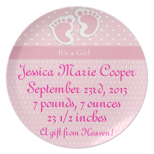 Personalised It's A Girl Plate