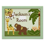 """Personalised """"Jungle Babies Animals"""" Poster Art"""