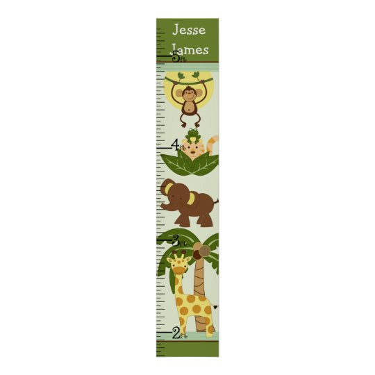 Personalised Jungle Babies Growth Chart/Poster Poster