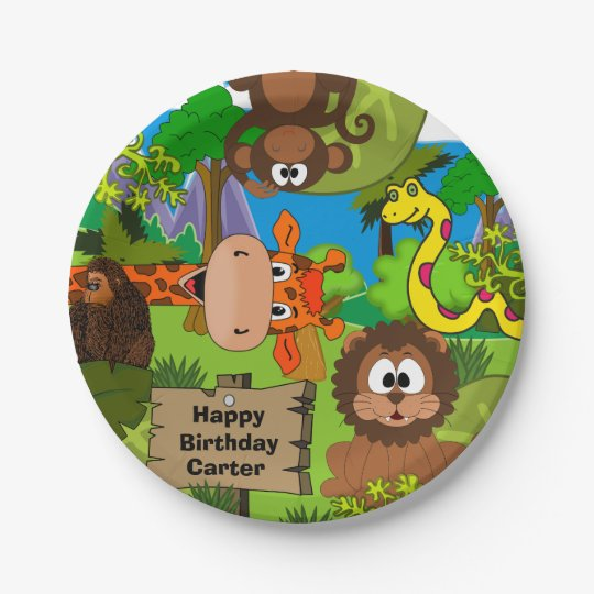 Personalised Jungle Birthday Paper Plate