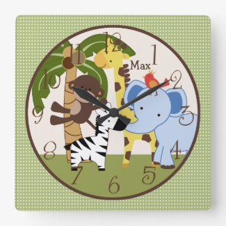 Personalised Jungle Buddies Animals Nursery Clock