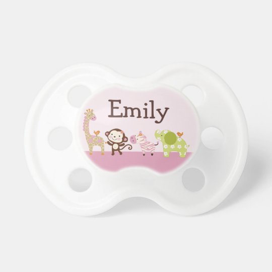 """Personalised """"Jungle Jill/Girl Animals"""" Pacifier"""