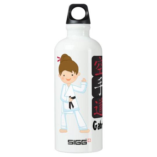 Personalised Karate Girl Water Bottle