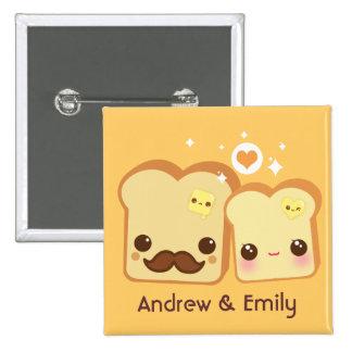 Personalised - Kawaii cute toasts couple 15 Cm Square Badge