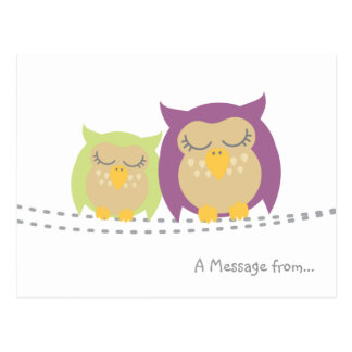 Personalised Kawaii Owl Postcard
