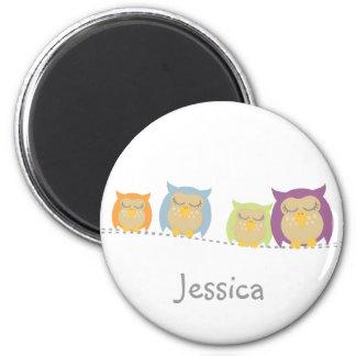 Personalised Kawaii Owls Magnet