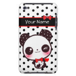 Personalised Kawaii panda on black polka dots Barely There iPod Cover