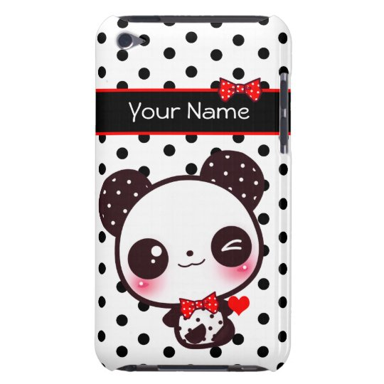 Personalised Kawaii panda on black polka dots iPod Touch Case-Mate Case