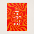 Personalised KEEP CALM AND Have Text Orange Swirl Business Card