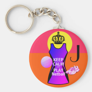 Personalised Keep Calm and Play Netball Key Ring