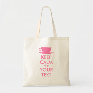 Personalised KEEP CALM and YOUR TEXT - pink cap Tote Bag