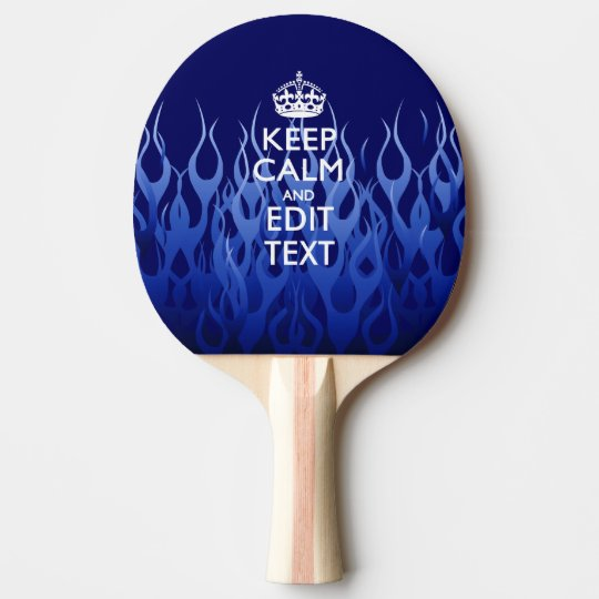 Personalised Keep Calm on Blue Flames Ping Pong