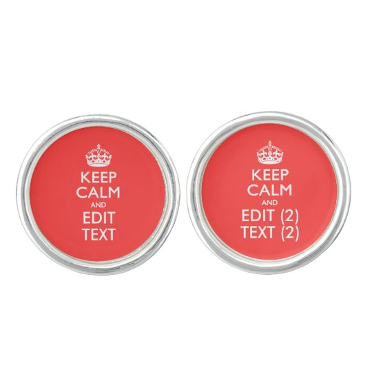 Personalised KEEP CALM Your Text in Coral Cufflinks