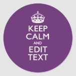 Personalised KEEP CALM Your Text on Purple Decor Round Sticker
