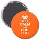 Personalised KEEP CALM Your Text Orange Accent Magnet