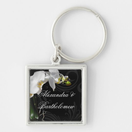 Personalised Keepsake Black & White Orchid Design Silver-Colored Square Key Ring