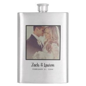 Personalised Keepsake Wedding Photo and Monogram Hip Flask