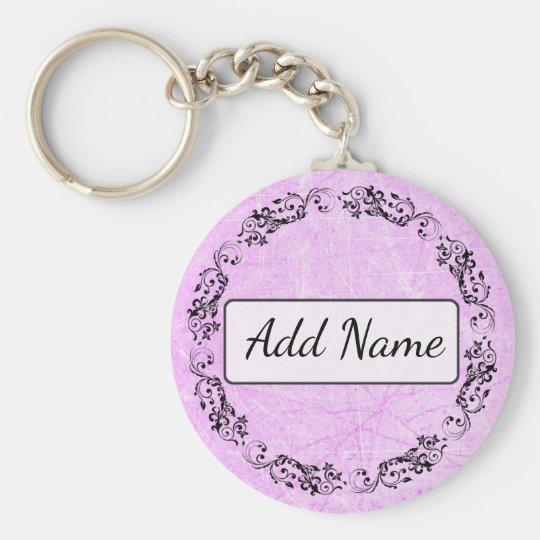 Personalised Key Chain Simple Black and Purple