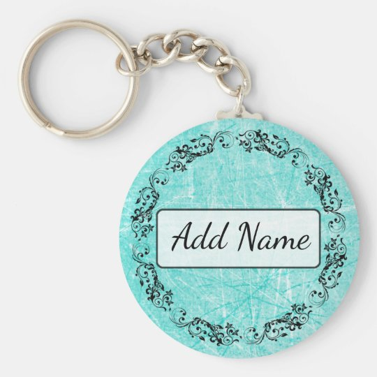 Personalised Key Chain Simple Black and Teal