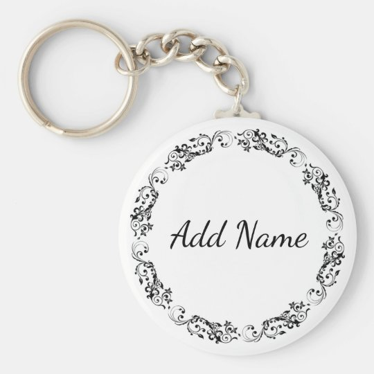 Personalised Key Chain Simple Black and White