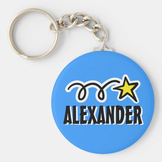 Personalised keychain for boy | Blue with star