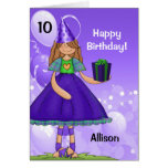 Personalised Kid's Birthday with Age for a Girl Greeting Card