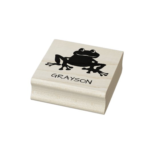 Personalised Kids Cute Frog Toad Rubber Stamp