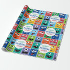 Personalised Kids Monster Birthday Party Add Age Wrapping Paper