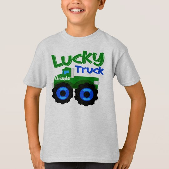 Personalised Kid's Name St. Patrick's Day Truck T-Shirt