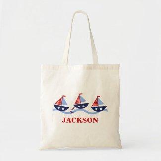 Personalised Kids Nautical Tote Bag