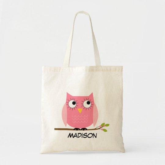 Personalised kids Pink Owl Tote Bag
