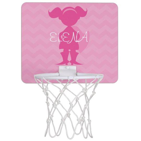 Personalised Kids Pink Superhero Girl Silhouette Mini Basketball