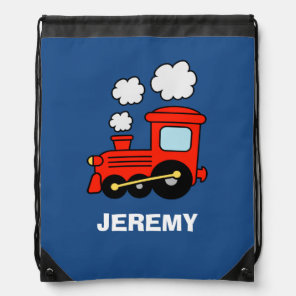Personalised kids red toy train drawstring bag