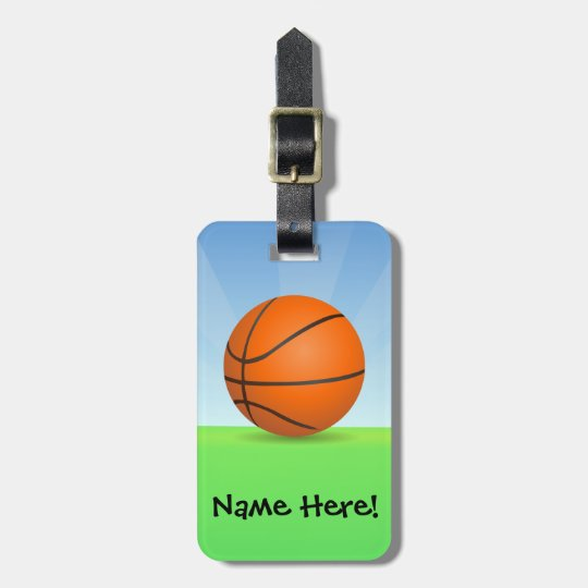 Personalised Kid's Sports Basketball Sunny Day Luggage Tag