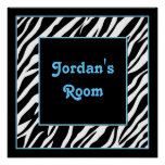 Personalised Kids Wall Decor - Zebra and Blue Posters