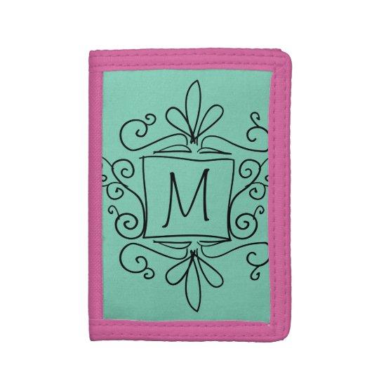 Personalised kids wallet with cute swirly monogram