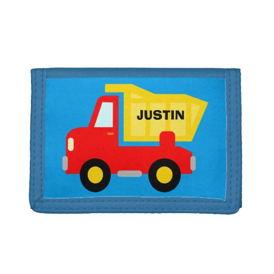 Personalised kids wallet with toy dump truck