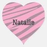 Personalised Kids Zebra Heart Stickers