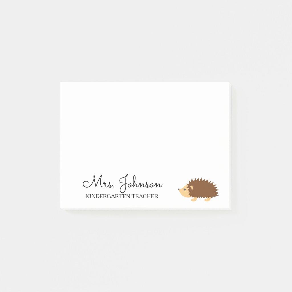 Personalised kindergarten school teacher hedgehog Post It Notes