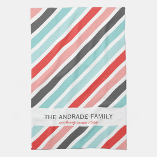 Personalised Kitchen Towels with Stripe Patterns