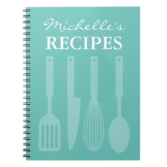 Personalised kitchen utensils recipe book notebook